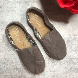 Toms Gray Youth Slip On Classics